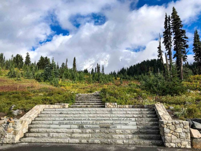 The Skyline Trail begins with these steps and a quote from Muir.