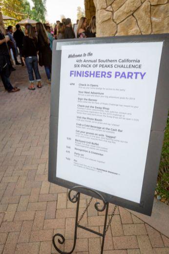Finishers Party Agenda