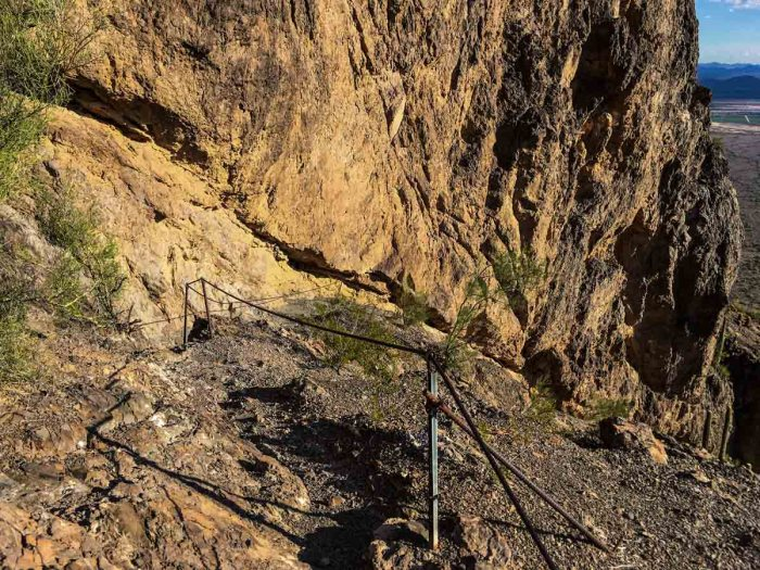 Following the cables to reach Picacho Peak