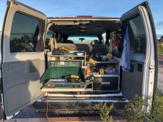 Kitchen area of the van