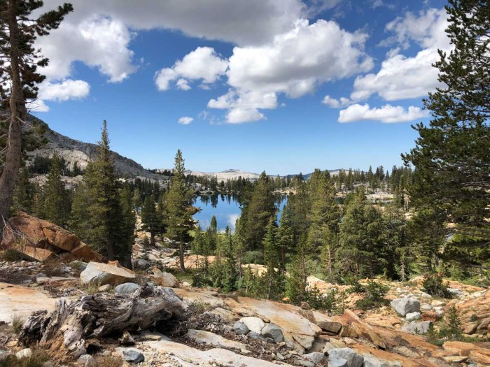 Looking back at Lower Ottoway Lakes as we ascend towards Red Peak Pass