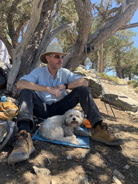 July hike up to Bertha Peak on the PCT looking out on Big Bear Lake. Charlie hiked along!