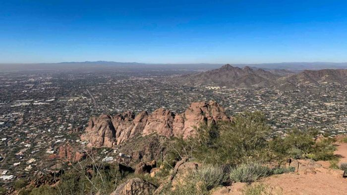 View from Camelback Mountain towards Piestewa Peak