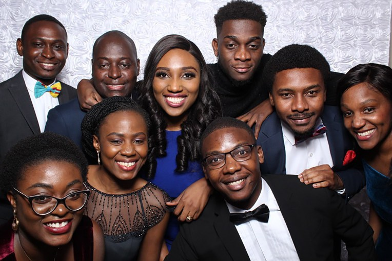Nine students pose for photo during Harvard Chan Prom 2019