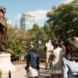 Students explore the Freedom Trail with a Public Health emphasis, led by Dr. John McDonough.