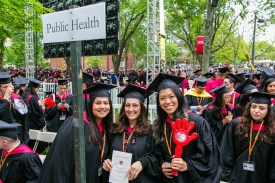 Students in front of Public Health sign