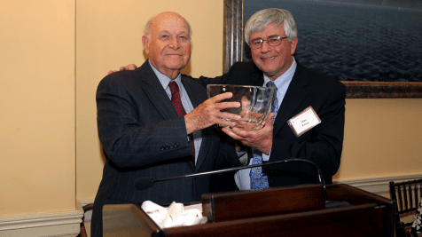 Maurice Tempelsman receives the Harvard AIDS Initiative Leadership Award from Max Essex