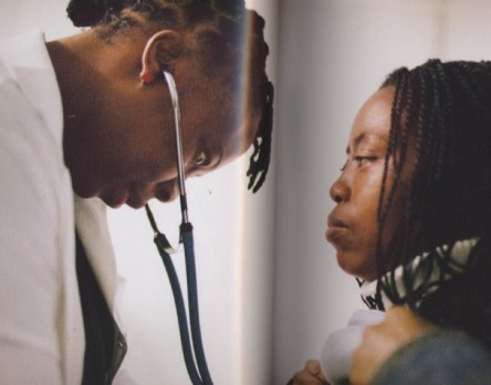 Botswana - Tendani Gaolathe, an internist, examines one of her regular patients, Marea Maroku. From 2003 to 2008, this model patient took a four-hour bus ride every month to pick up her AIDS drugs. Now with the national antiretroviral treatment program decentralized, Maroku can receive clinical care closer to home. ©Dominic Chavez