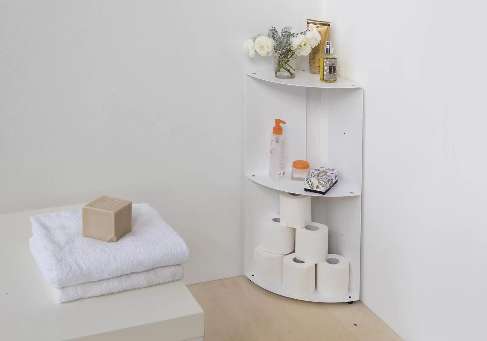 etagere d angle salle de bain dangolo 25x25x70cm