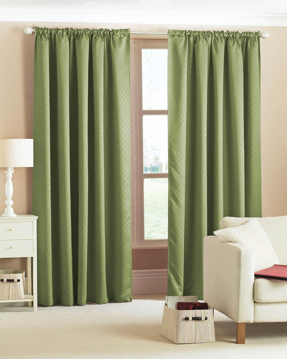 Diamond Woven Blackout Curtains Green Cheap Olive Blackout