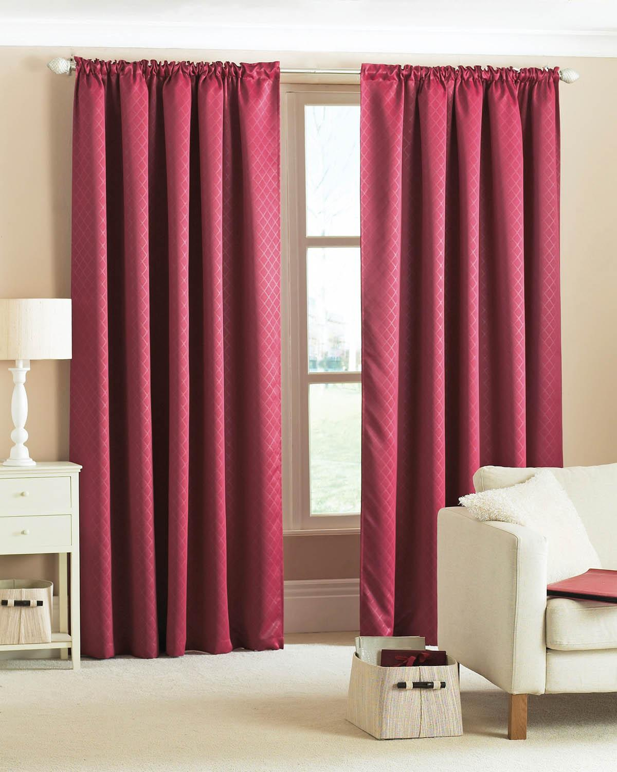 Diamond Woven Blackout Curtains Wine Cheap Red Blackout Standard