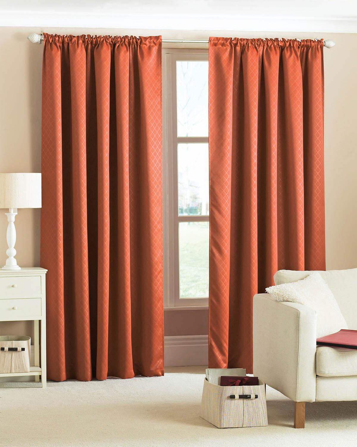 Diamond Woven Blackout Curtains Terracotta Cheap Orange Blackout