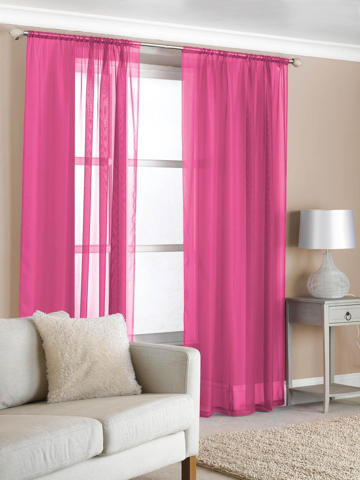 Slot Top Voile Pair Cerise Cheap Pink Curtain Voile UK Delivery