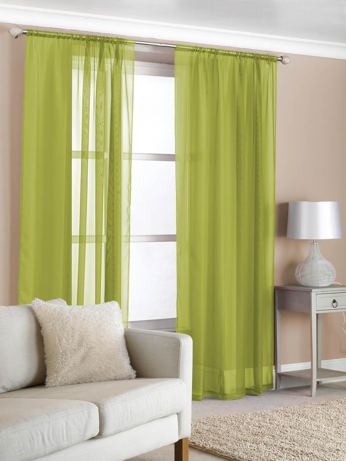 Slot Top Voile Pair Olive Cheap Green Curtain Voile UK Delivery