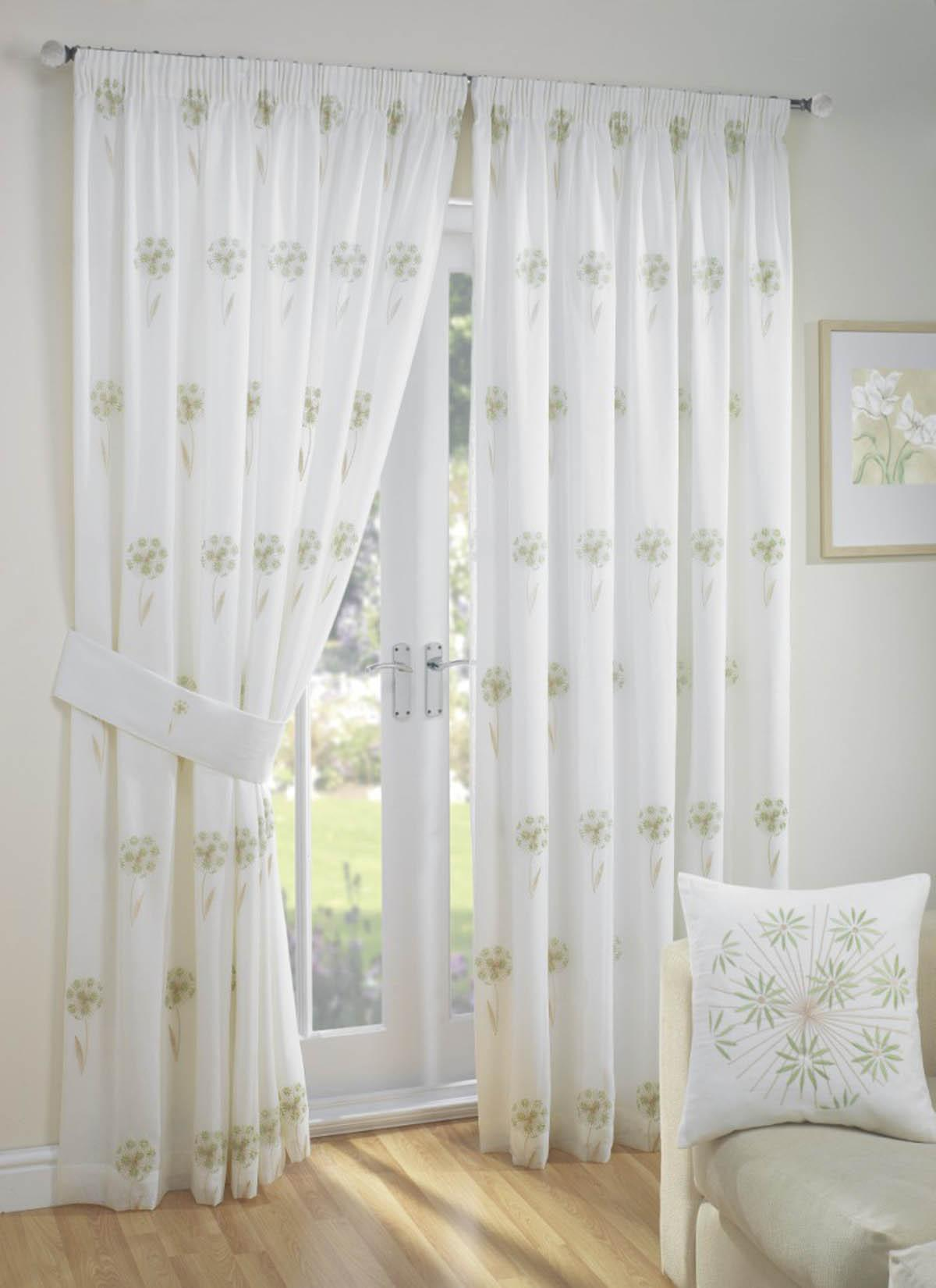Libby Lined Voile Readymade Curtain Green Green Curtains UK