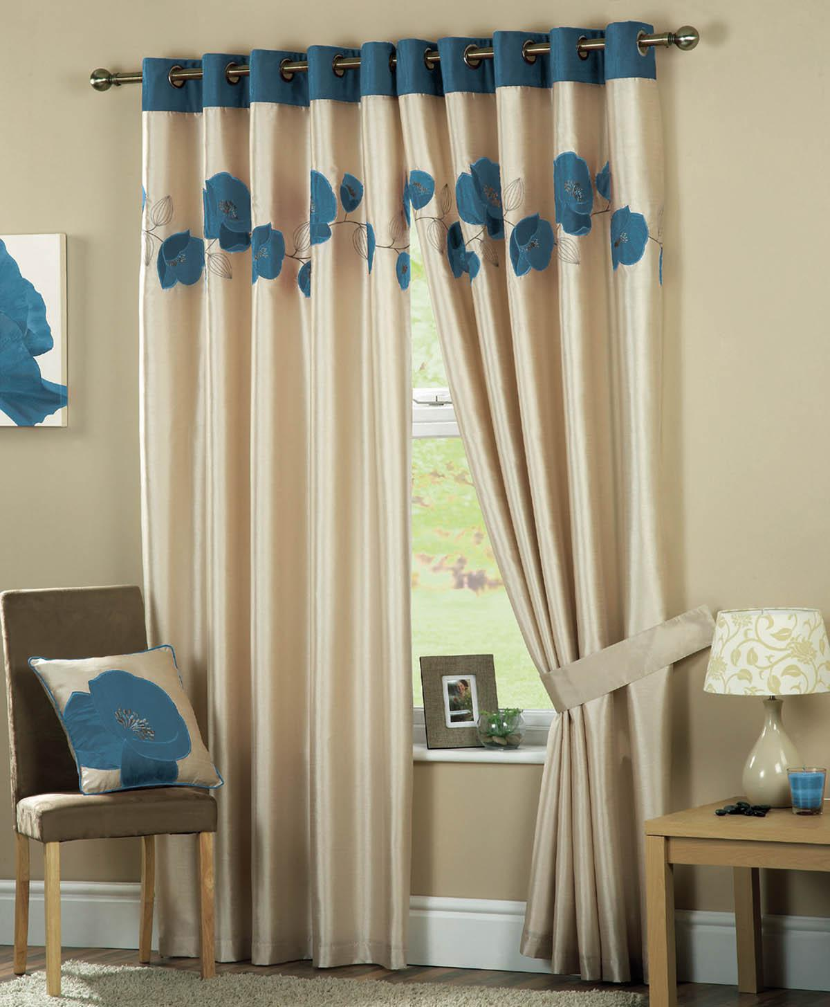 Danielle Eyelet Lined Curtains Teal Cheap Ring Top Curtains UK
