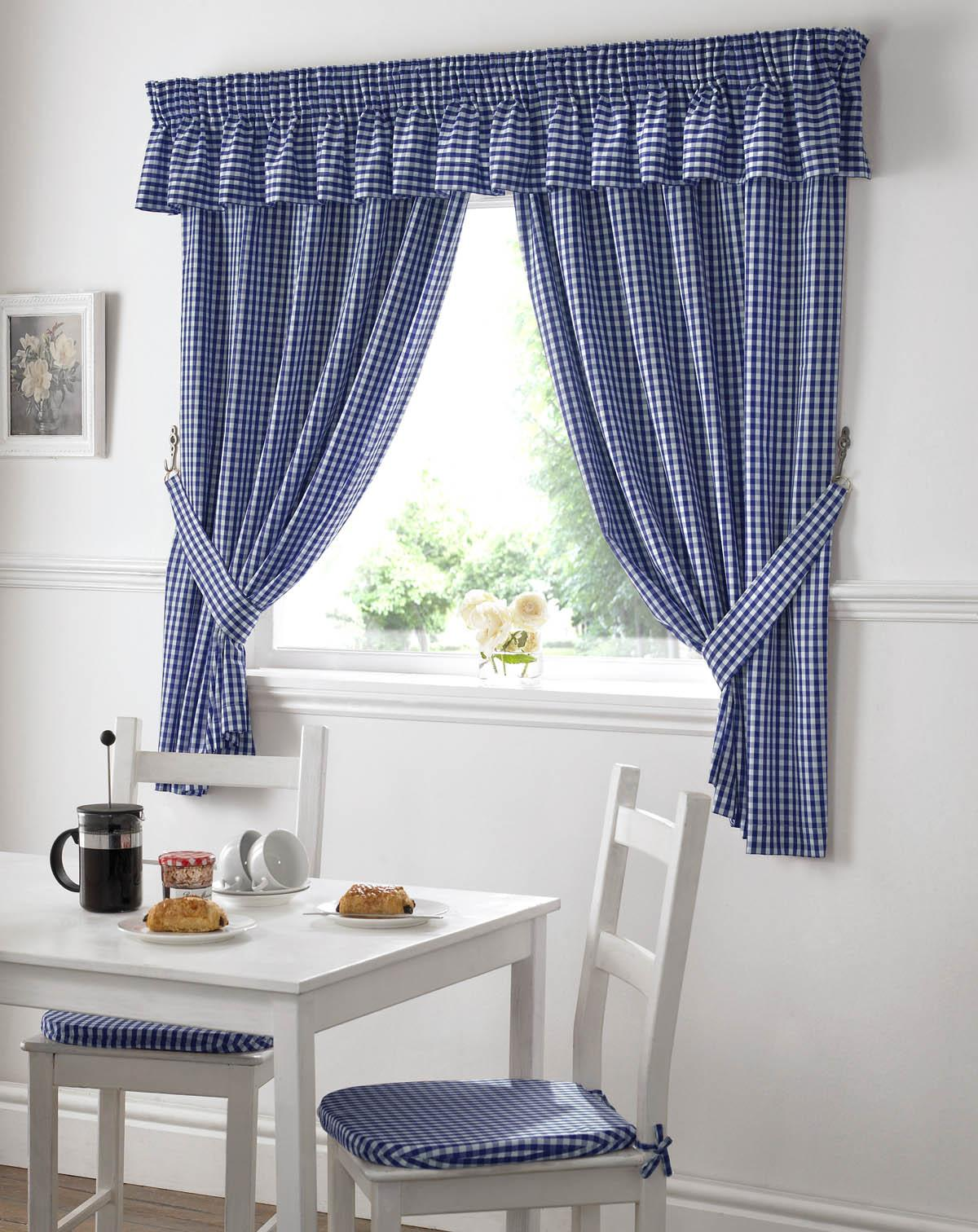 Gingham Value Curtains Blue Homewares Cheap UK Delivery