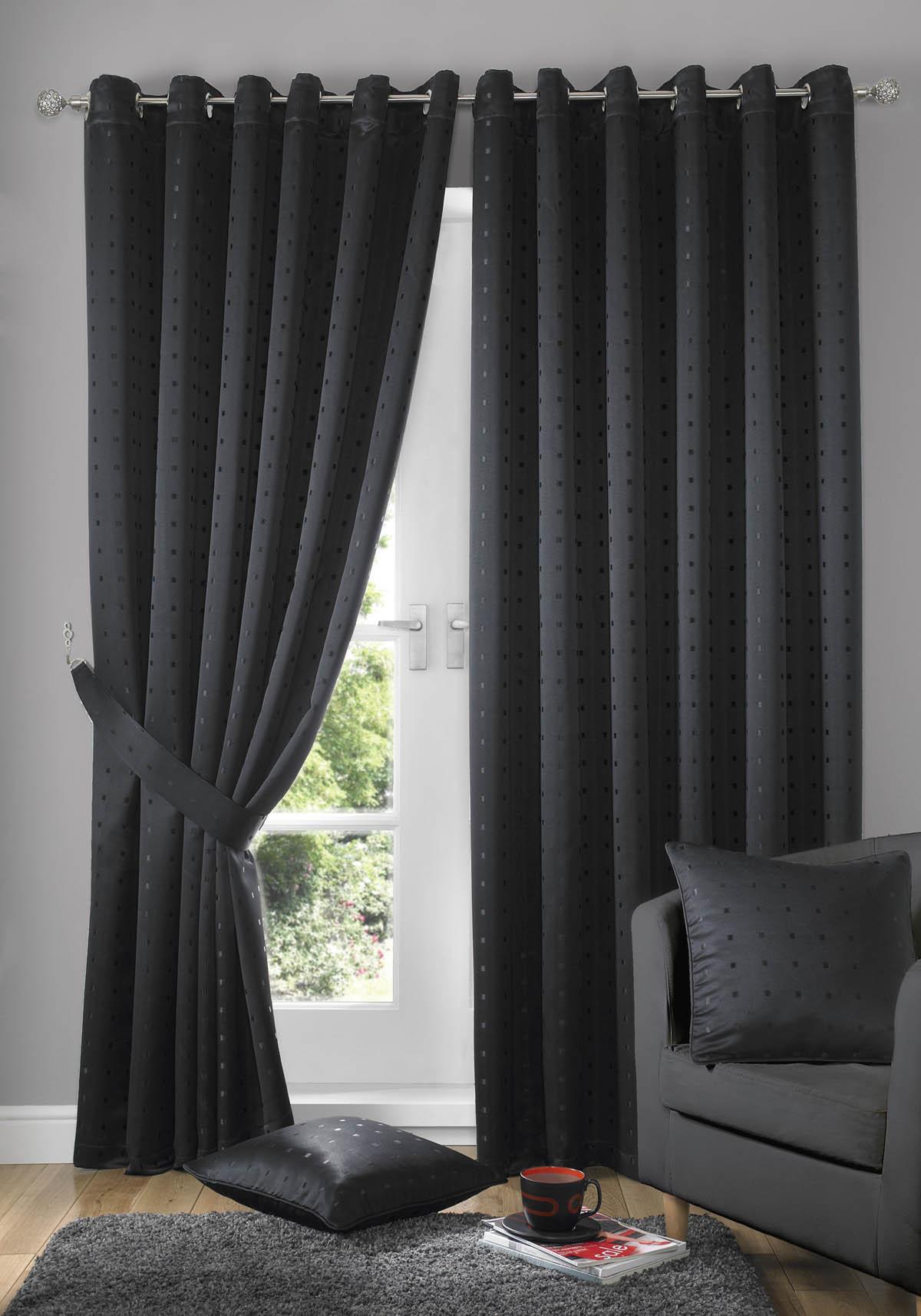 Madison Eyelet Lined Curtains Black Luxury Ringtop Curtains UK