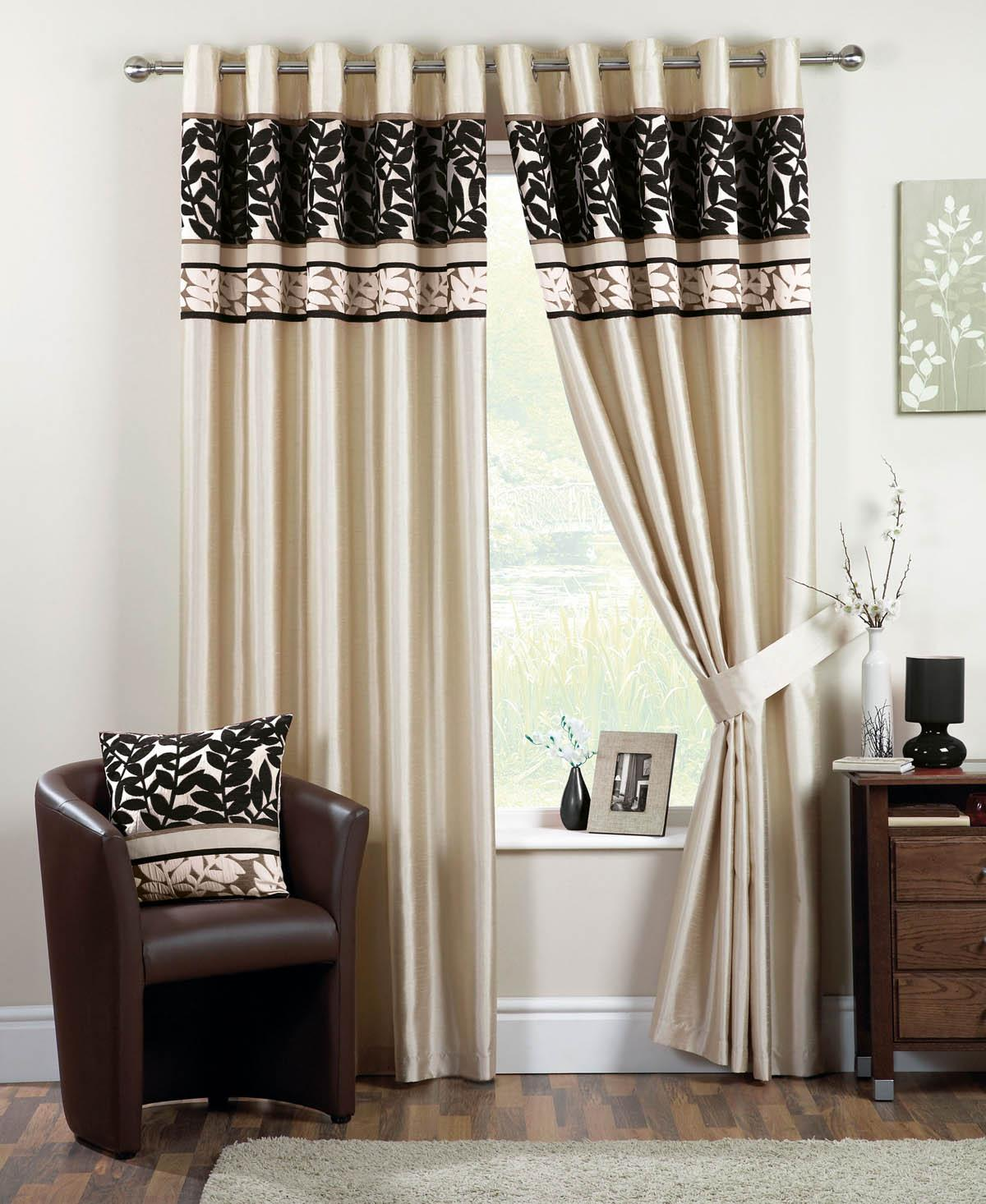 Coniston Ready Made Eyelet Lined Curtains Black Luxury Ringtop