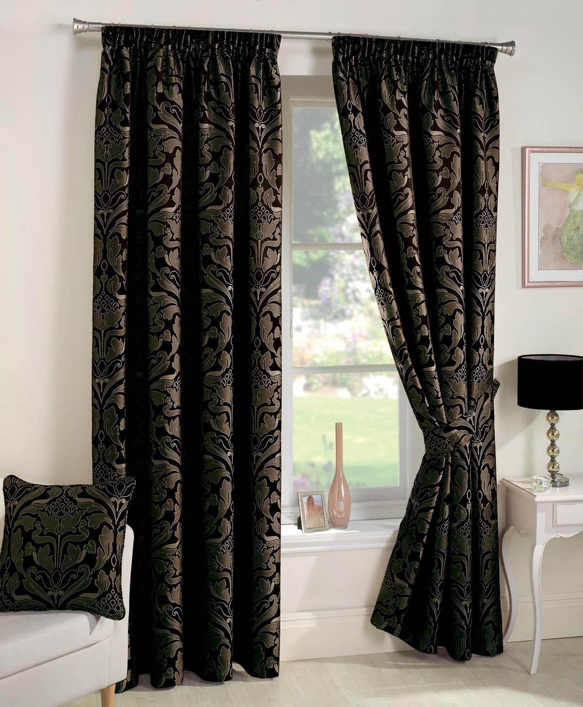 Crompton Ready Made Lined Curtains Black Luxury Headed Curtains