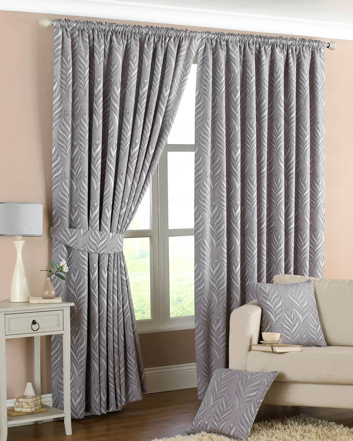 Narrow Leaf Ready Made Lined Curtains Silver Luxury Headed