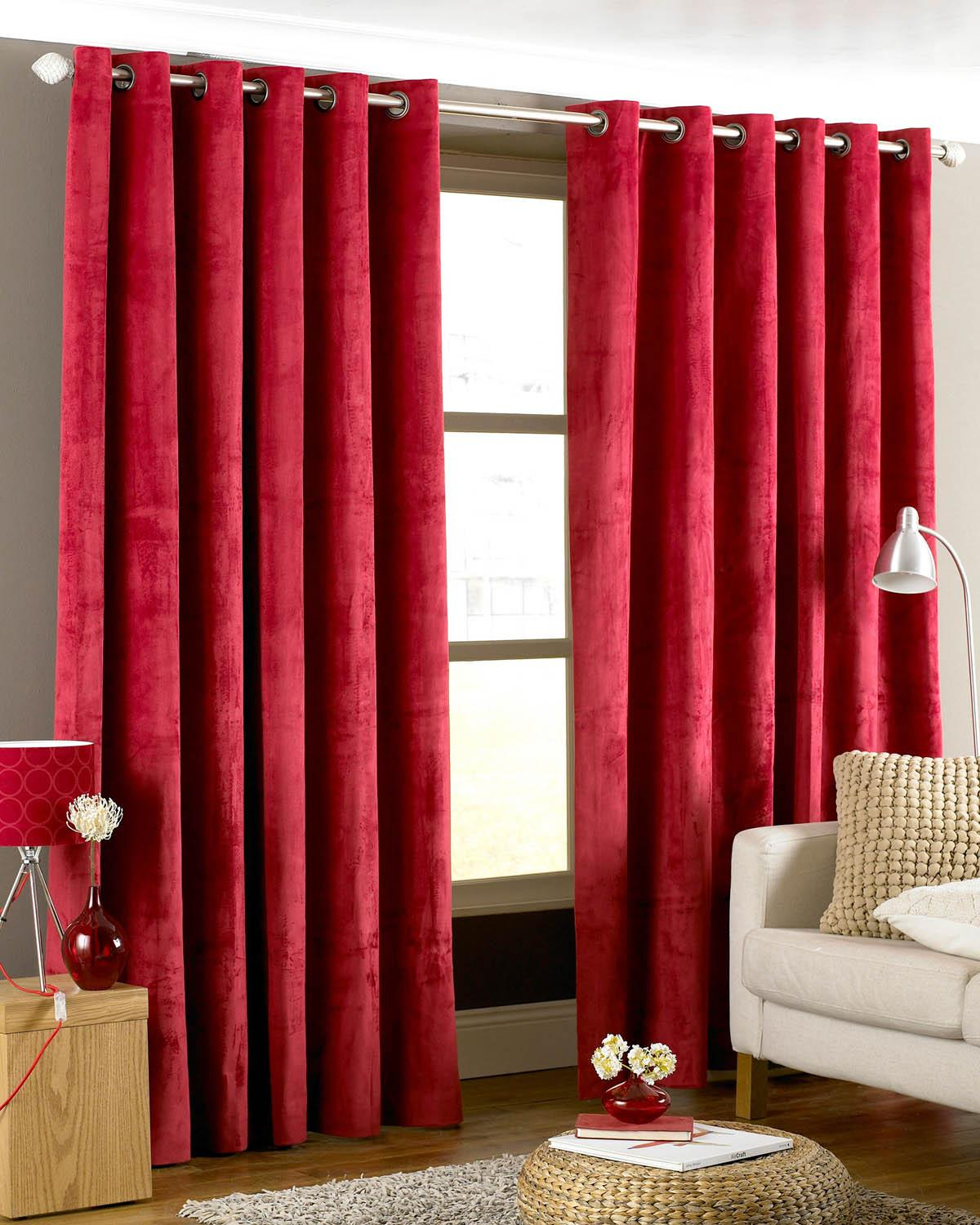 Cheap red curtains - Emperor Ready Made Eyelet Lined Curtains Red Luxury Ringtop