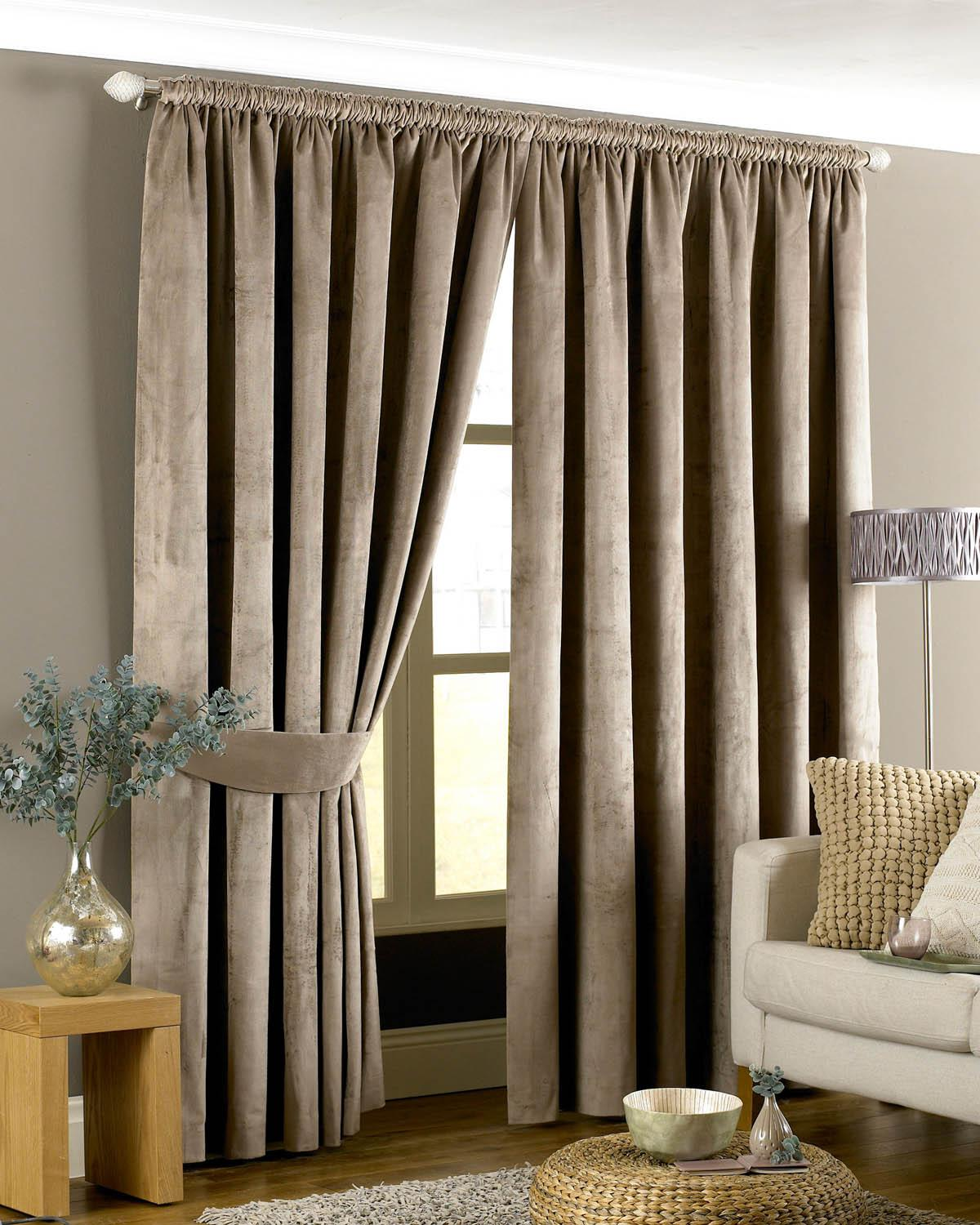 Emperor Ready Made Lined Curtains Taupe Luxury Headed Curtains