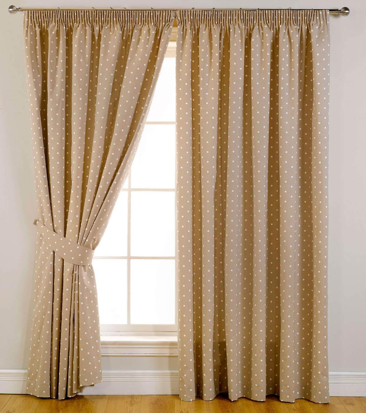 Dotty Ready Made Blackout Curtains Taupe Luxury Headed Curtains