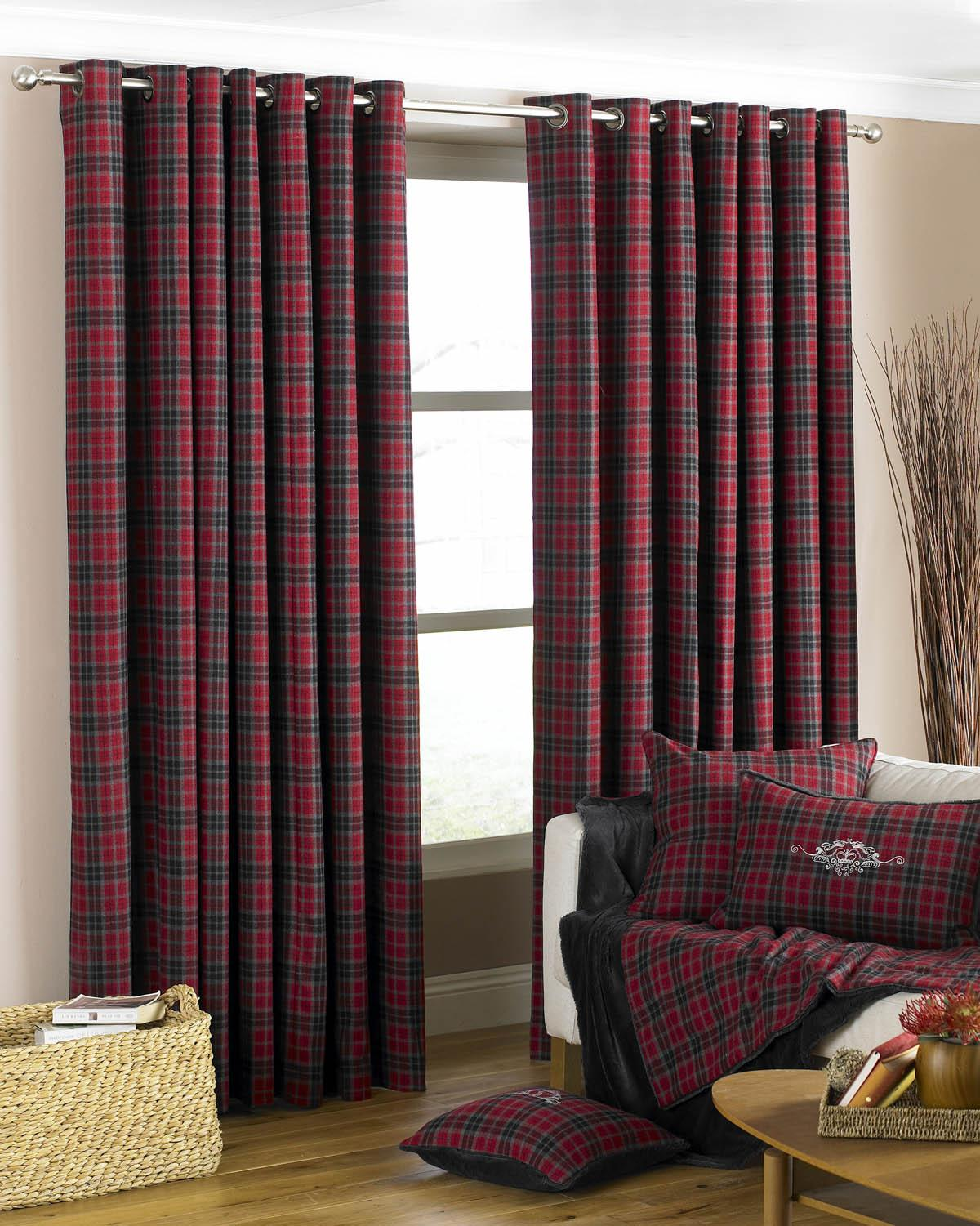 Val D'Isere Ready Made Eyelet Curtains Cranberry Luxury Ringtop