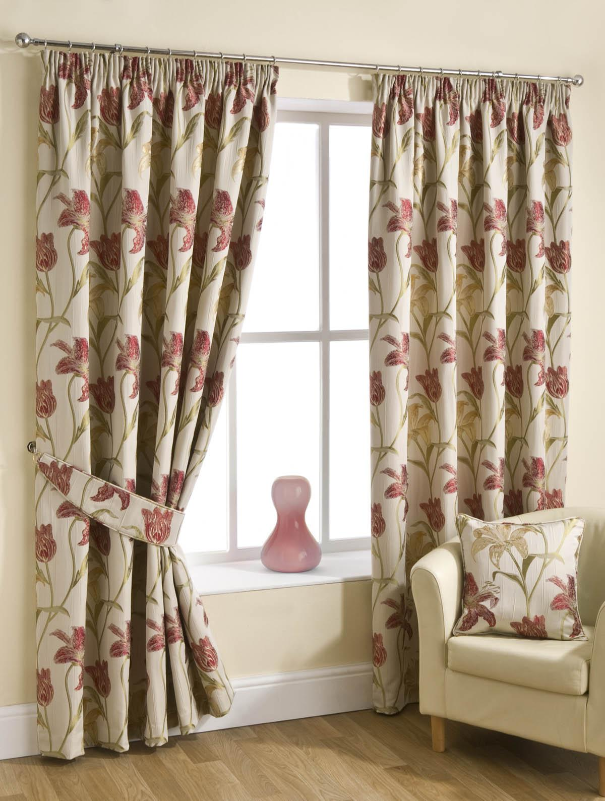 Cheap red curtains - Fragrance Ready Made Lined Curtains Chintz Pencil Pleat Curtains