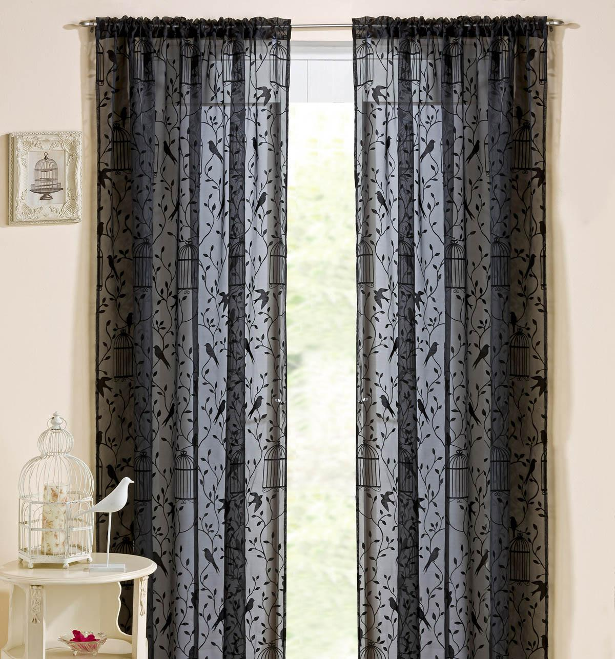 Nightingale Rod Pocket Voile Panel Black Affordable Curtain