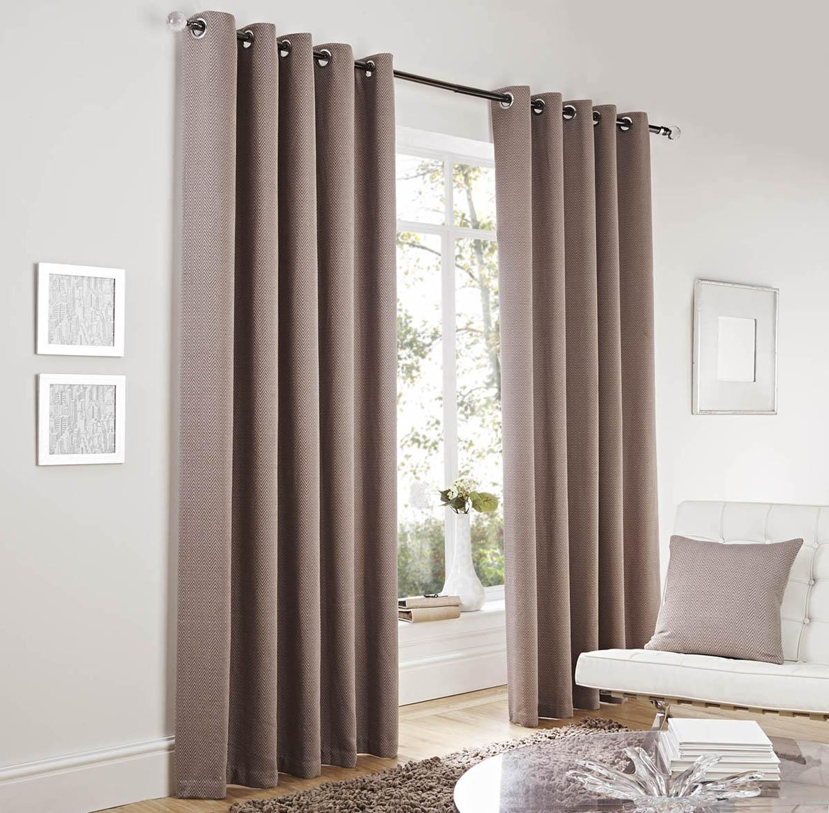 Lincoln Ready Made Eyelet Curtains Taupe Luxury Ringtop Curtains
