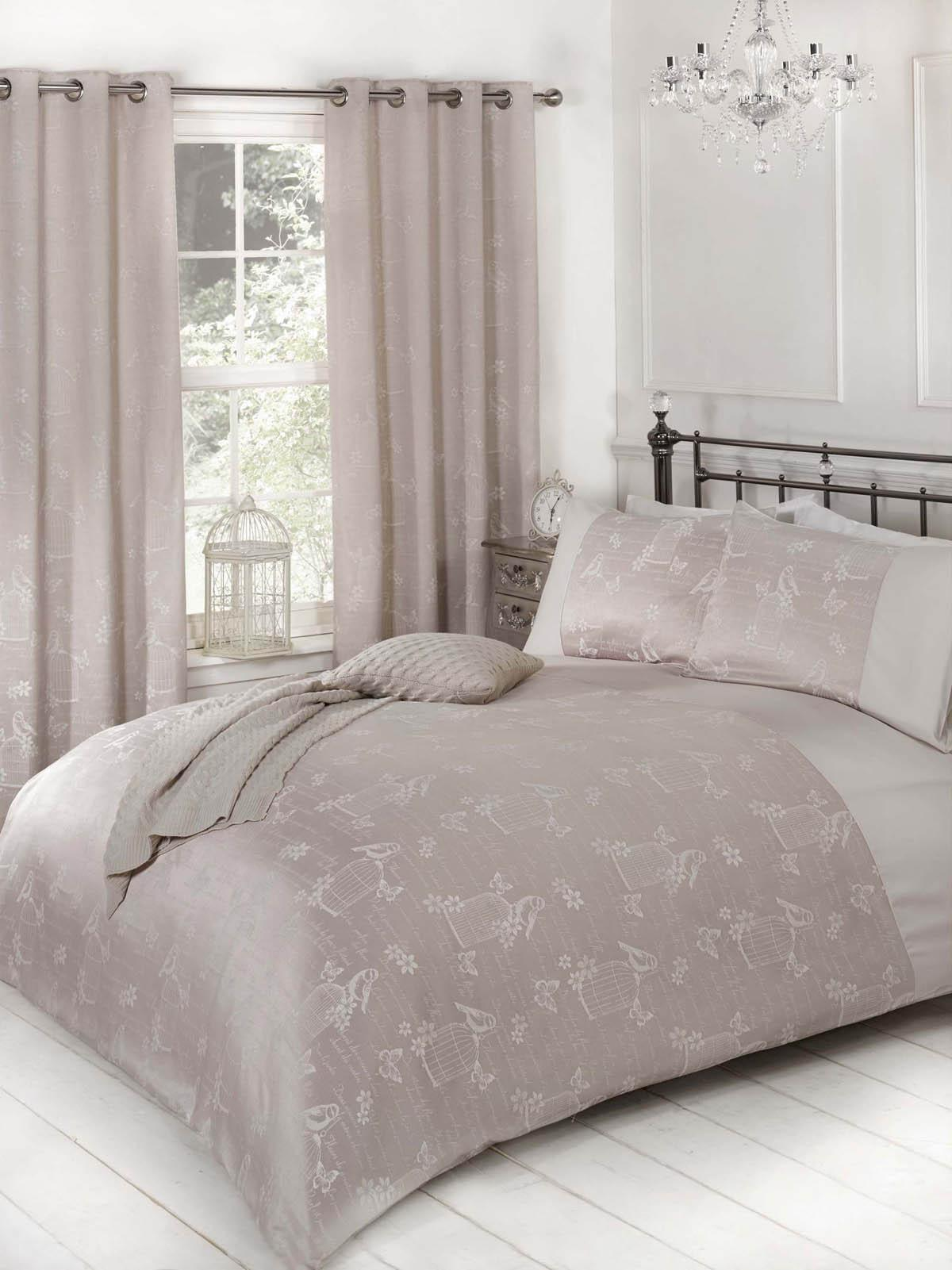 Jardin Duvet Cover Mink Luxury Ringtop Curtains UK Delivery