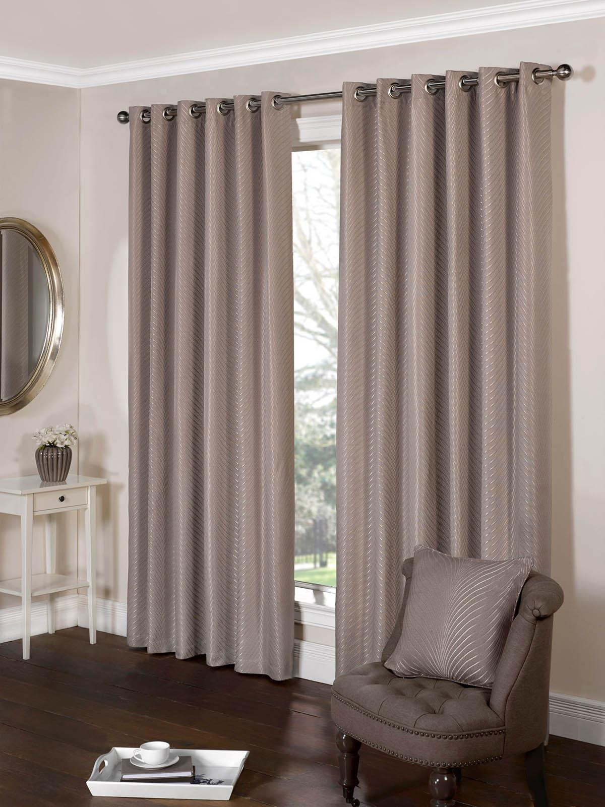 Tibet Ready Made Eyelet Curtains Taupe Luxury Ringtop Curtains