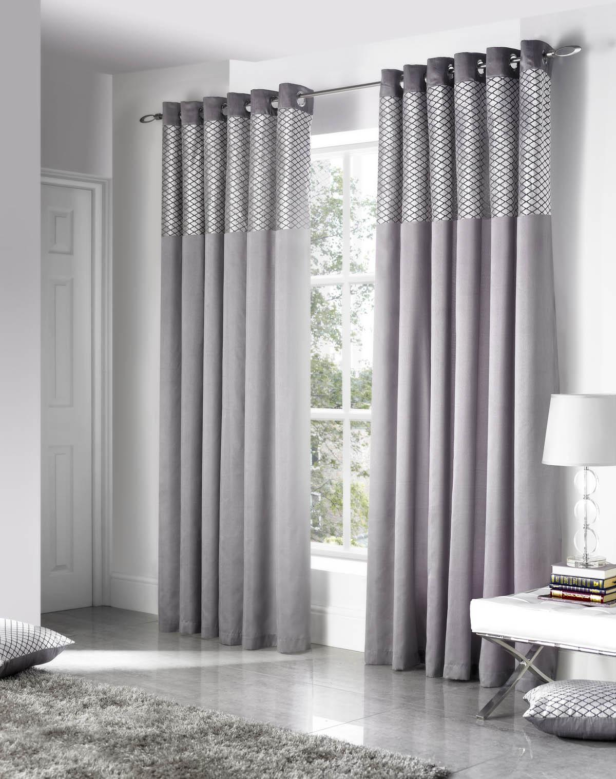 Silver Savoy Ready Made Eyelet Curtains Terrys Fabrics UK