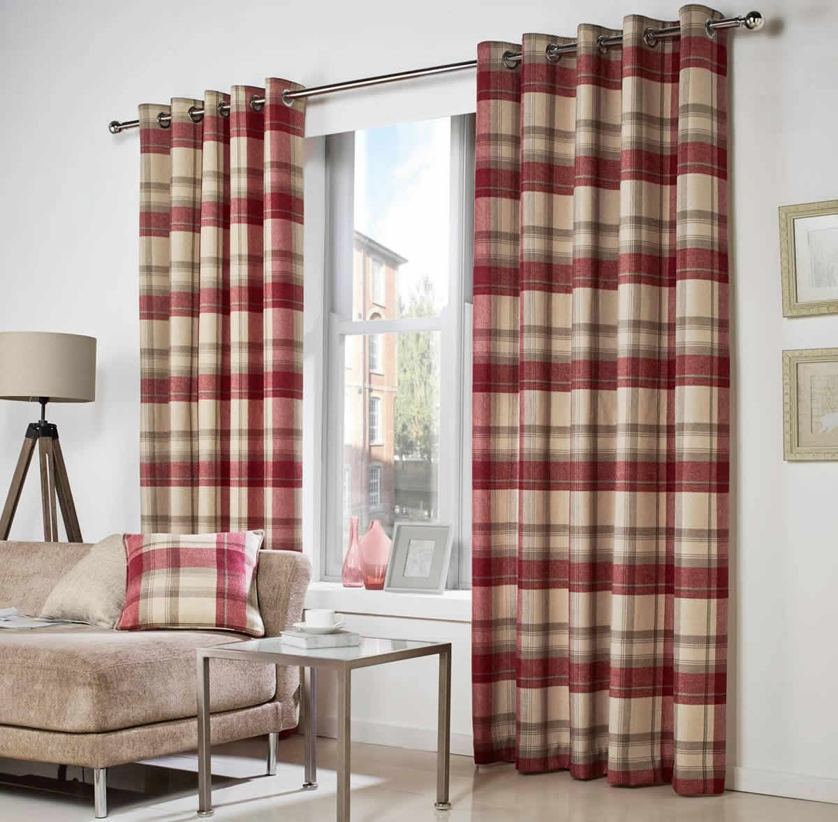Belvedere Ready Made Curtains In Red Terrys Fabrics UK