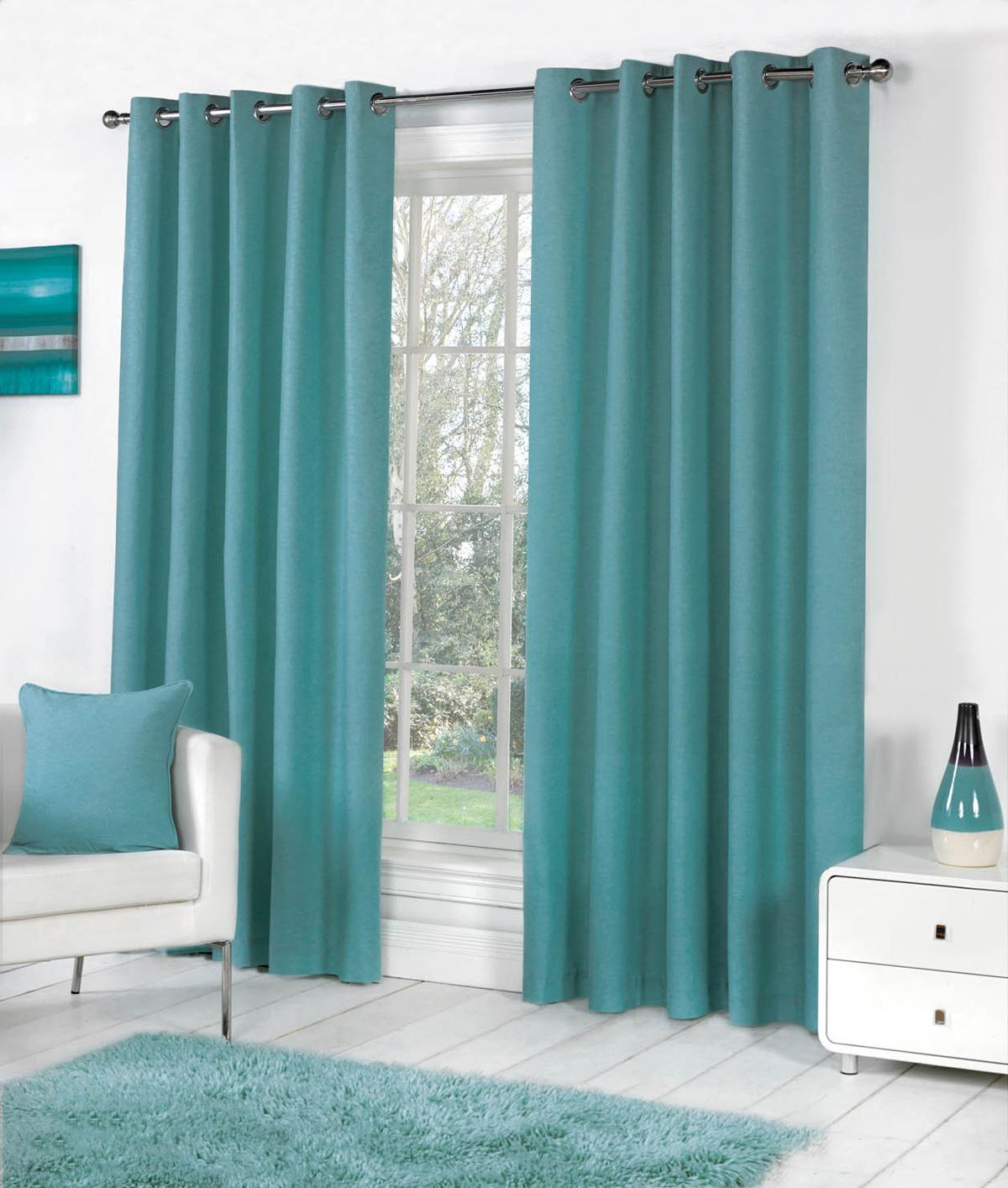 Sorbonne Ready Made Eyelet Curtains In Teal Terrys Fabrics UK