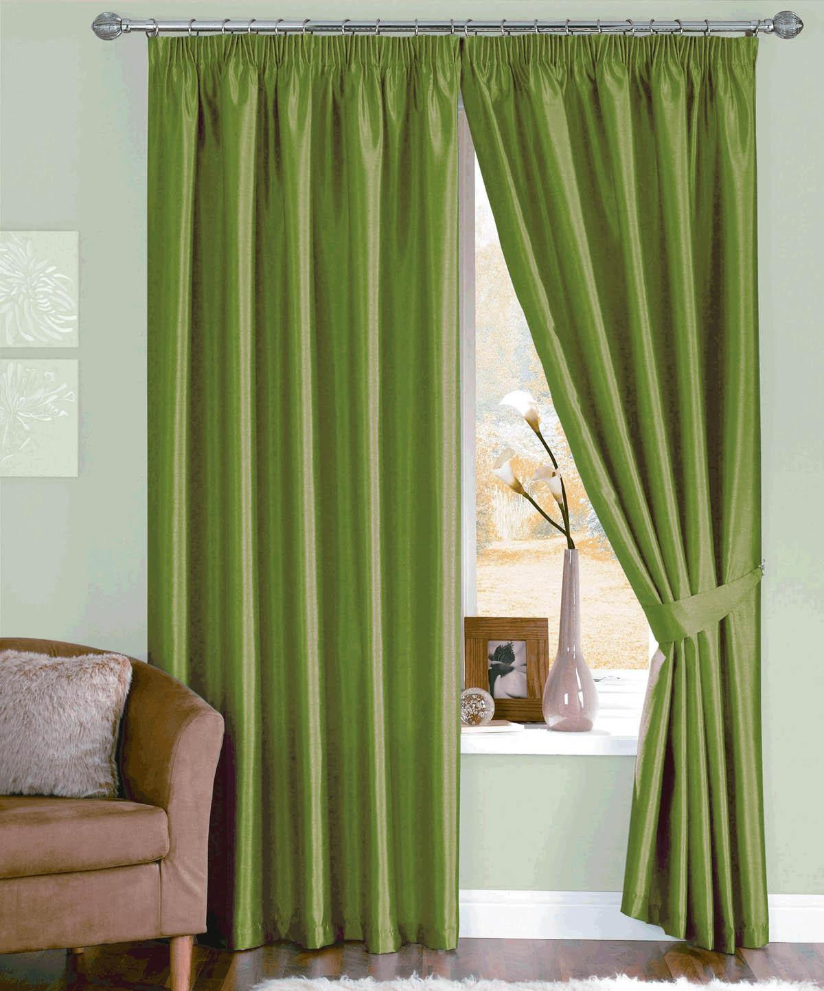Moss Java Ready Made Curtains Faux Silk Curtains Cheap UK Delivery