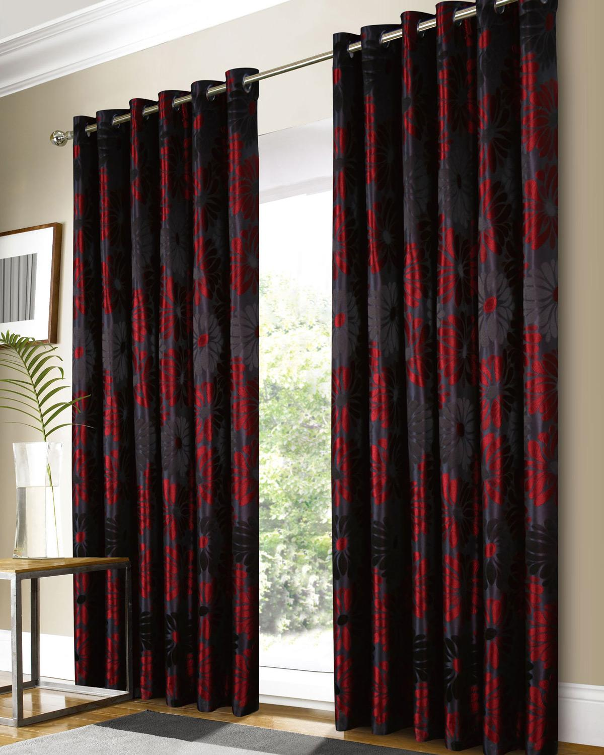 Cheap red curtains - Black Red Alaska Ready Made Eyelet Curtains Black Red Uk Delivery