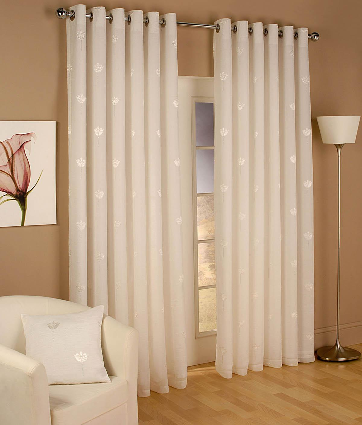 Miami Eyelet Voile Curtains Natural Cheap Prices UK Delivery
