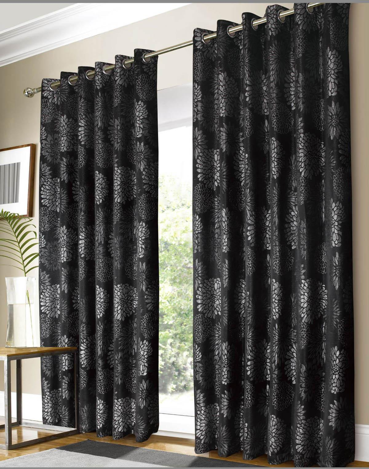 Black Silver Vegas Ready Made Curtains Black Curtains UK Delivery
