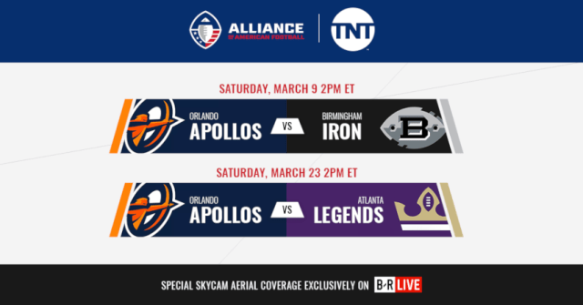 TNT adds March 9 and March 23 AAF games after AAF ratings beat some NHL and MLS broadcasts