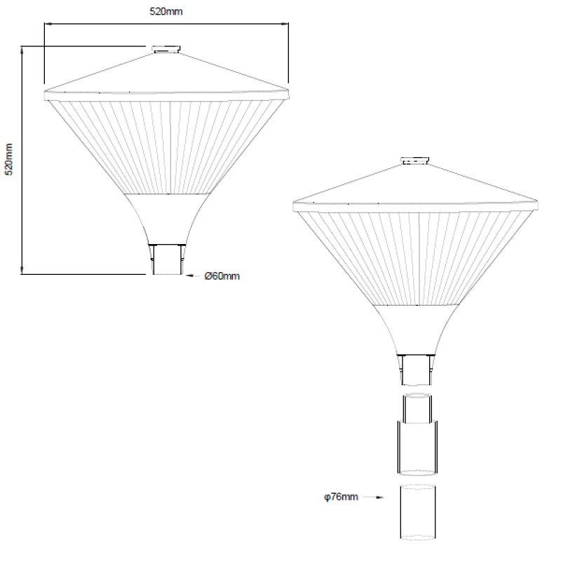 50W/4,800lm LED 360 Degree Post-top Luminaire replacing