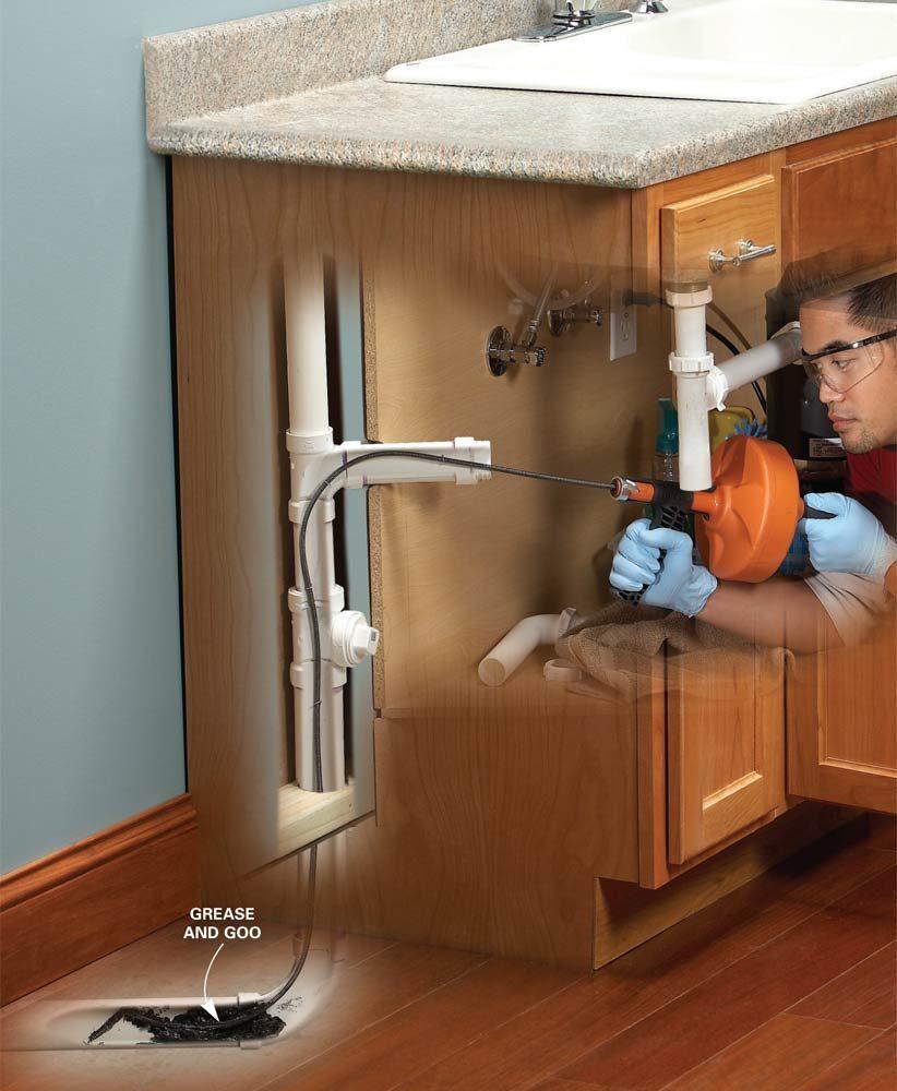kitchen sink snake utensil holder unclog a   the family handyman