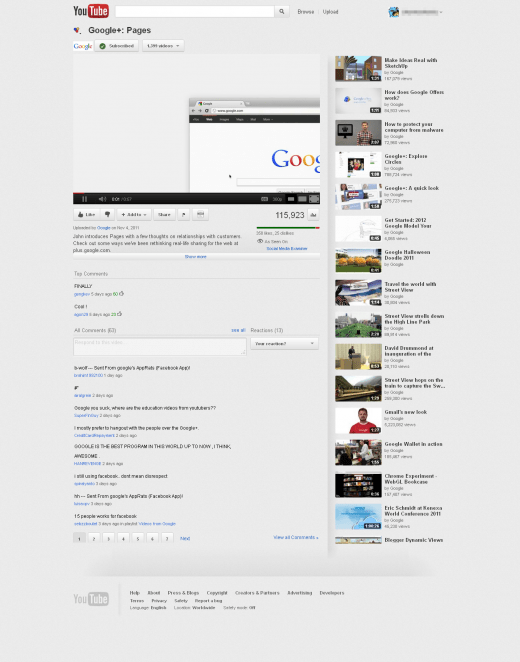 YouTube tests redesign highlighting Google+ videos