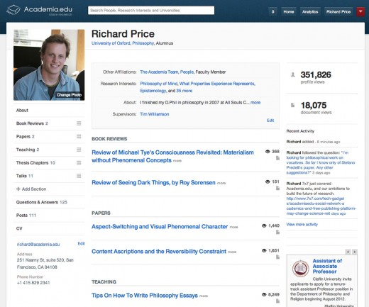 Scholarly Sharing Site Academiaedu Spruces Up Its Profiles