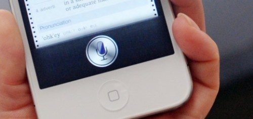 """A woman displays """"Siri"""", voice-activated"""