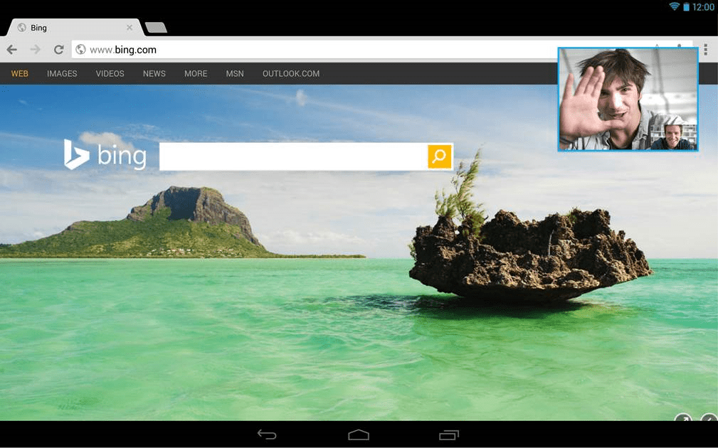 bing skype Skype for Android tablets now lets you keep audio and video calls going outside the app