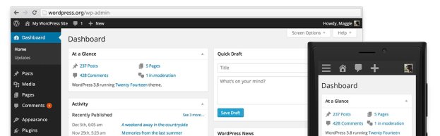 overview WordPress 3.8 arrives with redesigned dashboard, new theme and widget screens, vector based icons, and more