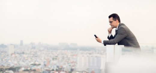 business man on smartphone